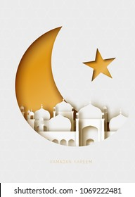 Ramadan Kareem 3d abstract paper cut illustration. Islamic mosque, moon, sky, and gold sky. Greeting card template in beautiful craft style.