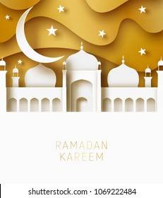 Ramadan Kareem 3d abstract paper cut illustration. Islamic mosque, moon, sky and gold sky. Space for text. Greeting card template in beautiful craft style.