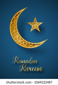 Ramadan Kareem 3d abstract paper cut illustration. Golden moon and star with islamic geometric pattern. Greeting card template in beautiful craft style.