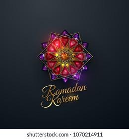 Ramadan Kareem. Abstract girih flower encrusted with red crystals. Vector illustration. Islamic jewelry ornament design. Eid Mubarak. Muslim holy month Ramadan decoration.