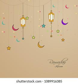 Ramadan Kareem Arabic calligraphy, Ramadan Kareem beautiful greeting card with arabic calligraphy, template for menu, invitation, poster, banner, card for the celebration of Muslim community festival.