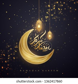 Ramadan kareem background with Arabic Calligraphy, golden lanterns, and moon. Greeting card background with a glowing hanging lantern mixed with a flickering glow.