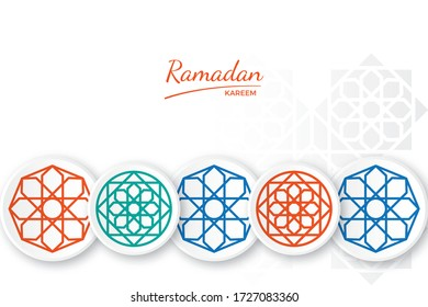 Ramadan kareem background with arabic ornament, simple and clean white background