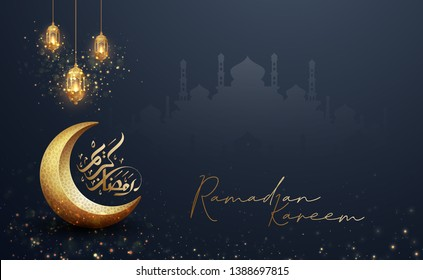 Ramadan kareem background with a combination of shining hanging gold lanterns, arabic calligraphy, mosque and golden crescent moon. Islamic backgrounds for posters, banners, greeting cards and more.