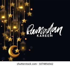 Ramadan kareem. Background design is arabian vintage decorative hanging lamp with bokeh. Decoration light lantern, gold stars on ribbon and golden crescent moon. Hand lettering white color
