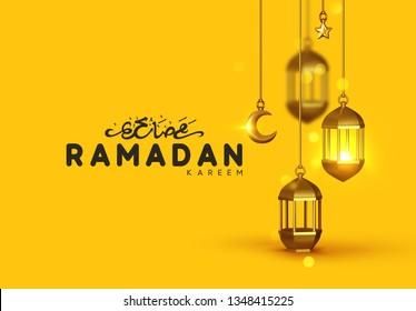 Ramadan kareem. Background design is arabian vintage decorative hanging lamp are on fire. Decoration light lantern, gold stars on ribbon and golden crescent moon. Hand lettering black color
