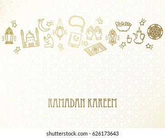 Ramadan Kareem background. Eid Mubarak. Arabians line icons set.  Vector design template for greetings card, poster, banner, invitation.