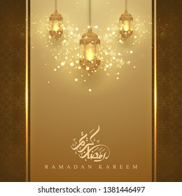 Ramadan kareem background with glowing hanging lantern and arabic calligraphy. Greeting card background with 3D style.