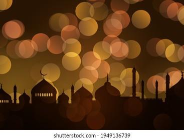 Ramadan Kareem background with gold bokeh lights