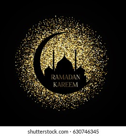 Ramadan Kareem background with gold glitter effect