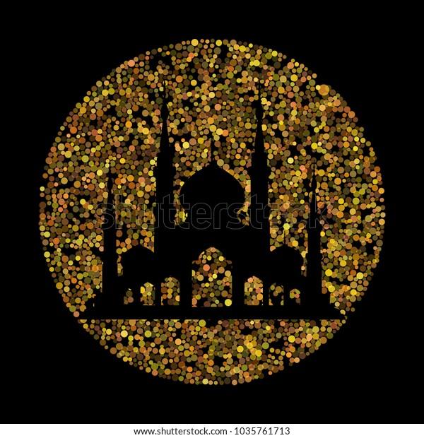 Ramadan Kareem Background Gold Glitter Effect Stock Vector (Royalty