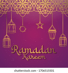 Ramadan kareem background. illustration with arabic golden lantern and glowing sparkling. vector