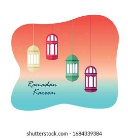 Ramadan Kareem Background. Islamic Arabic lantern. Ramadan Kareem Greeting Card. Flat Design Simple Vector Illustration.
