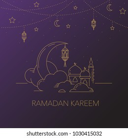 Ramadan Kareem background with moon, stars, lantern, mosque in the clouds. Ramadan mubarak Greeting card, invitation for muslim community. Kadir Gecesi Vector illustration in mono line style.