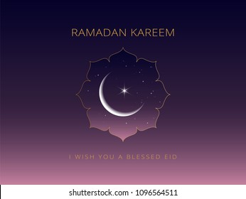 Ramadan Kareem background with moon and stars in a beautiful mosque window. Ramadan mubarak greeting card, invitation for muslim community. Kadir Gecesi vector illustration in minimal style
