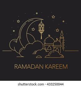 Ramadan Kareem background with moon, stars, lantern, mosque in the clouds. Ramadan mubarak Greeting card, invitation for muslim community. Kadir Gecesi Vector illustration in mono line style.