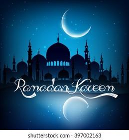 Ramadan kareem background with mosque on night.Vector