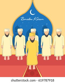 Ramadan Kareem background. People offering prayer. vector illustration