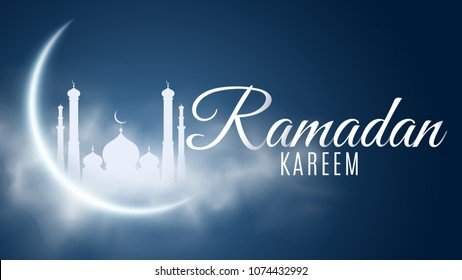 Ramadan Kareem background. Religion Holy Month. Caligraphy. Light moon. Clouds. Temple with domes. Old Muslim city. Cover, banner for design. Vector illustration. EPS 10