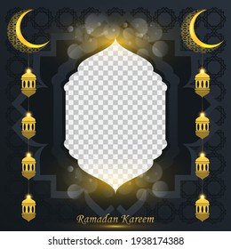 Ramadan kareem background for social media post design template. crescent moon and lantern element. Islamic backgrounds for posters, banners, greeting cards and social media post template.