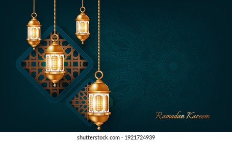 ramadan kareem banner background design illustration - Shutterstock ID 1921724939
