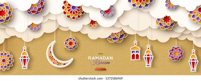 Ramadan Kareem Banner with Moon, Clouds and 3d Paper cut Islamic Stars on Gold Background. Vector illustration. Traditional Lanterns and Place for your Text.