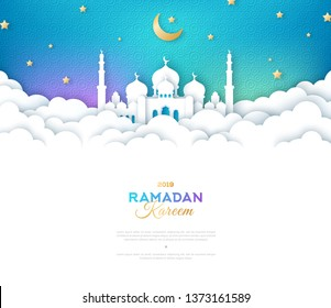 Ramadan Kareem Banner with Moon, Clouds and 3d Paper cut Sheikh Zayed Grand Mosque. Vector illustration. Place for your Text.