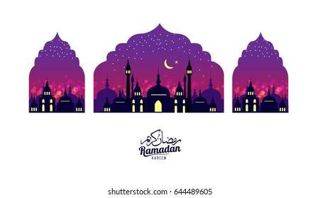 Ramadan Kareem. Beautiful greeting card. Scene with Mosque or Masjid. flat design elements. vector illustration