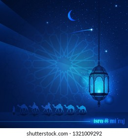 Ramadan Kareem with  beautiful typography and Arabian land by riding on camels at night accompanied by sparkles of stars and lantern for illustrative Islamic background and greeting card