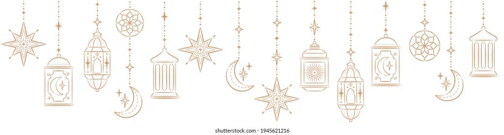 Ramadan Kareem Border, Islamic art Style Background. Symbols of Ramadan Mubarak, Hanging Gold Lanterns, arabic lamps, lanterns moon, star, art vector and illustration - Shutterstock ID 1945621216