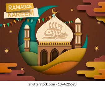 Ramadan Kareem calligraphy design in earth color tone, lovely mosque and crescent in paper art style