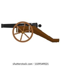 Ramadan kareem cannon shooting vector flat illustration icon. Medieval cartoon war iron gun. Civil simple artillery  isolated symbol. Circus weapon design.