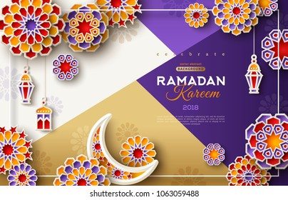 Ramadan Kareem card with 3d arabesque stars and flowers on modern geometric background. Vector illustration. Paper cut symbols for poster or flyer. Place for your text