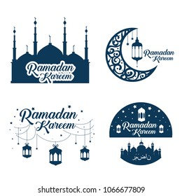 ramadan kareem card with set icons