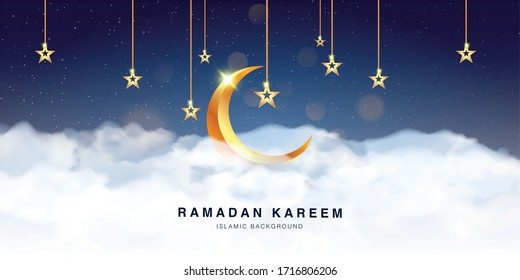 Ramadan Kareem Celebration Greeting Card background template vector design Decorated With 3d Realistic Crescent moon and clound. Islamic eid mubarak banner