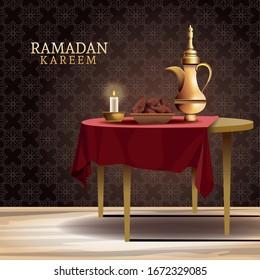 ramadan kareem celebration with teapot in table vector illustration design