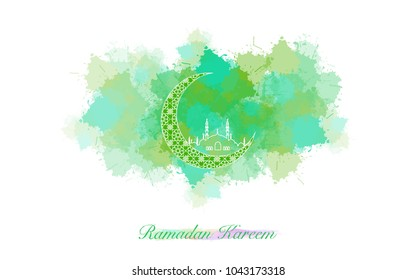 Ramadan Kareem  colorful ink style. Islamic background. Ramadan Kareem or Eid Mubarak greeting card, advertising or other your content.