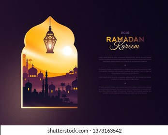 Ramadan Kareem concept with arab city in window and place for text. Beautiful sunset sky and traditional lantern. Banner or greeting card with buildings temple, mosque and palms
