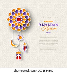 Ramadan Kareem concept banner with 3d paper cut islamic lanterns, star and moon on bright geometric pattern. Vector illustration. Place for text