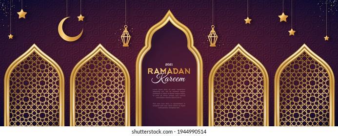 Ramadan Kareem concept banner with gold 3d frame, arab window on dark background with beautiful arabesque pattern. Vector illustration. Hanging golden arabian traditional lanterns, crescent and stars