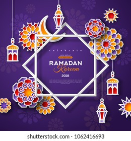 Ramadan Kareem concept banner with islamic geometric patterns and star shaped frame. Paper cut flowers, traditional lanterns, moon and stars on dark violet background. Vector illustration.