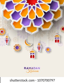 Ramadan Kareem concept banner with islamic lanterns, star and moon on light background. Vector illustration. Place for text