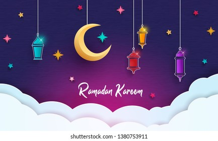Ramadan Kareem concept banner with islamic geometric patterns. Paper cut flowers, traditional lanterns, moon and stars on dark blue background. Vector illustration. - Shutterstock ID 1380753911