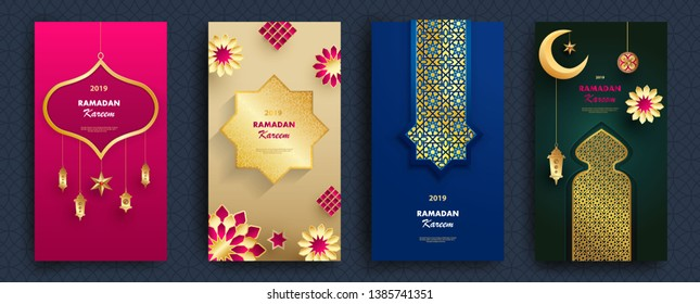 Ramadan Kareem concept banner with islamic geometric patterns and paper cut 3d flowers, traditional lanterns, moon and stars on blue background. Vector illustration.