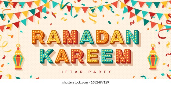 Ramadan Kareem concept banner with traditional lanterns, flag garlands and confetti on light background. Vector illustration. Iftar party flyer or invitation.