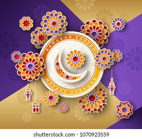 Ramadan Kareem concept with circle frame and 3d paper cut islamic lanterns, stars and moon on geometric background. Vector illustration.