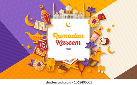 Ramadan Kareem concept horizontal banner with flat sticker icons on modern geometric background. Vector illustration. Eid Mubarak. Quran, Traditional Lanterns, Iftar food dates