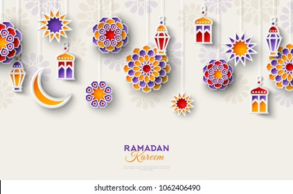 Ramadan Kareem concept horizontal banner with islamic geometric patterns. Paper cut flowers, traditional lanterns, moon and stars. Vector illustration.