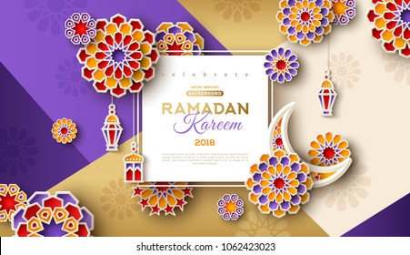 Ramadan Kareem concept horizontal banner with islamic geometric patterns and square frame. Arabesque flowers, traditional lanterns, crescent and stars. Vector illustration.