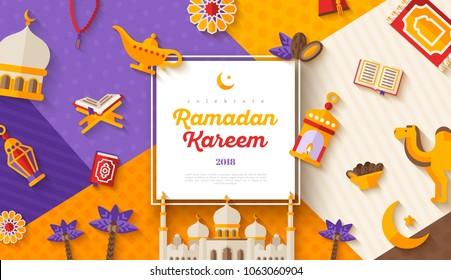 Ramadan Kareem concept horizontal banner with flat sticker icons on modern geometric background. Vector illustration. Eid Mubarak. Quran, Traditional Lanterns, Iftar food dates. Muslim mosque